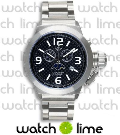 Nicolet Men's Swiss Chronograph Carbon Fiber Huge Big Watch