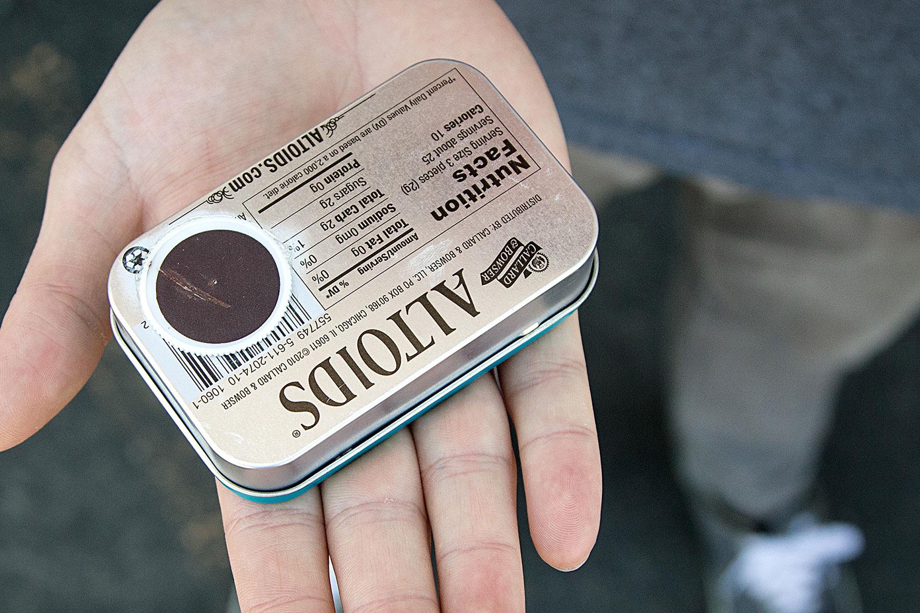 Back of an Altoids Survival Tin