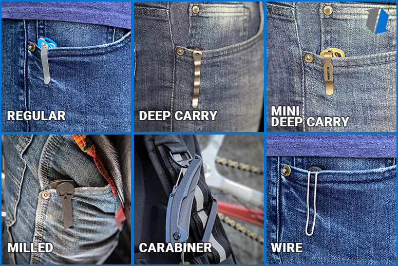 Knife pocket clips in pocket