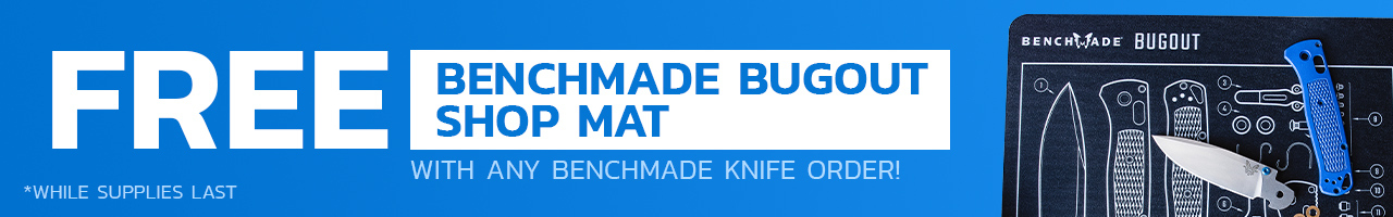 Free Shop Mat with the purchase of any Benchmade Knife