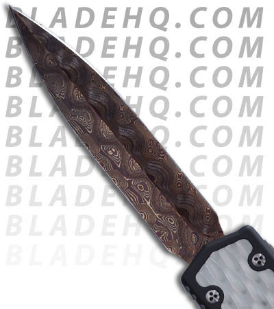 Microtech Custom Makora OTF Knife Diamond Plate (Blued Damascus)