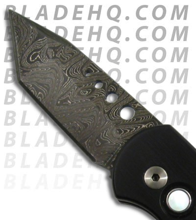 Protech Runt 3 Damascus Auto Knife Black Handle w/ Mother of Pearl Button 307D