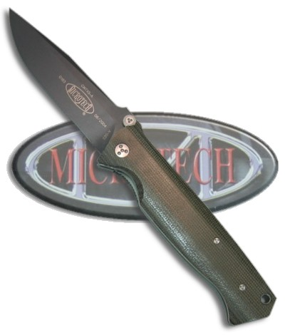 "Microtech CMTX5 D/A Automatic Knife Green Cavas Micarta (3.5"" Black)"