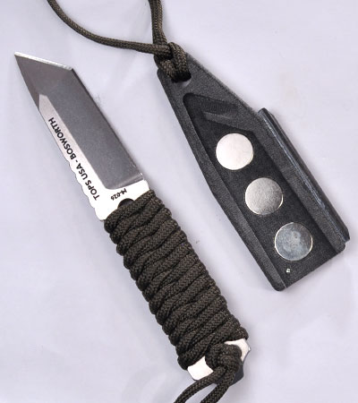 TOPS Knives SSS Bosworth Neck Knife w/ Wrapped Handle Magnetic Sheath SSSK-01
