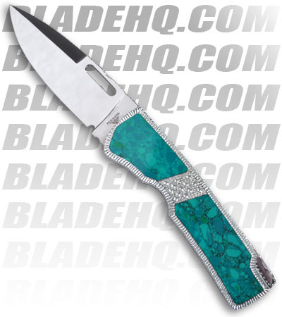 Blackie Collins Paragon Custom Turquoise Malachite Folding Hunter Clip Point