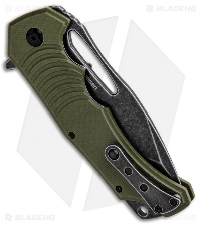 "BlackFox Hugin Flipper Knife Green G-10 (4"" Black Stonewash)"