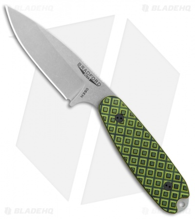 "Bradford Knives Guardian3.5 Fixed Blade Toxic Green G-10 (3.75"" Sabre Stonewash)"