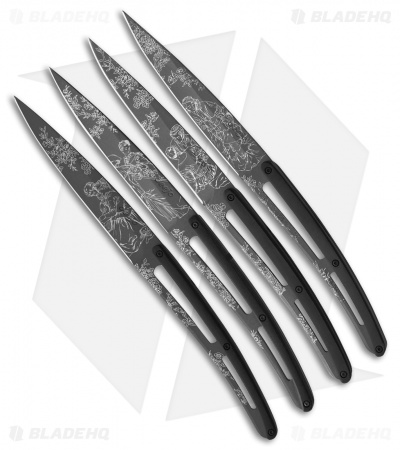"Deejo 9"" Ti Toile De Jouy Steak Knives w/ Paperstone Handles - Set of 4"