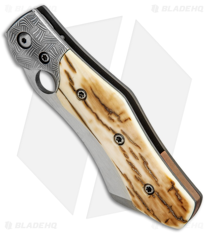 Deviant Blades Prototype Frame Lock Knife Damascus/Mammoth Ivory (3 8