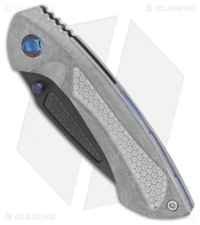 "EOS Dorado Frame Lock Knife Titanium w/  Blue Hardware (3.6"" Black)"