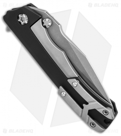 "Heretic Knives Wraith Flipper Knife Black Aluminum (3.625"" Battle-Worn Blasted)"