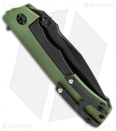 "Heretic Knives Wraith Flipper Knife Green Aluminum (3.625"" Black)"