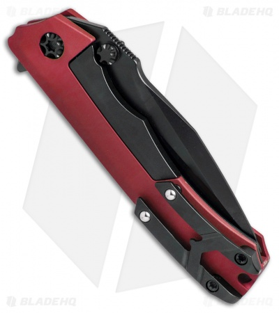 "Heretic Knives Wraith Flipper Knife Red Aluminum (3.625"" Black)"