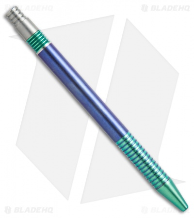 Matthew Martin Tactical 375 Series Unique #6 Blue/Green Ano Titanium Click Pen