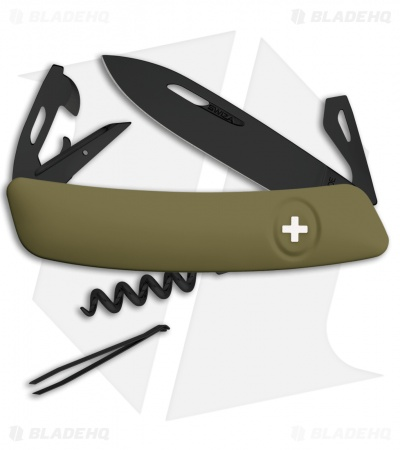 "Swiza D03 Swiss Pocket Knife Olive (3"" Black)"