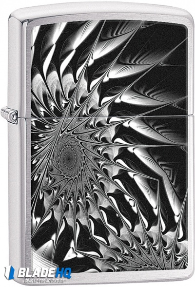 Zippo Lighter Polished Chrome Metal Abstract 11408
