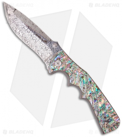 "Brian Tighe Spicy Tighe Spring Assisted Knife w/ Abalone (4"" Damasteel)"