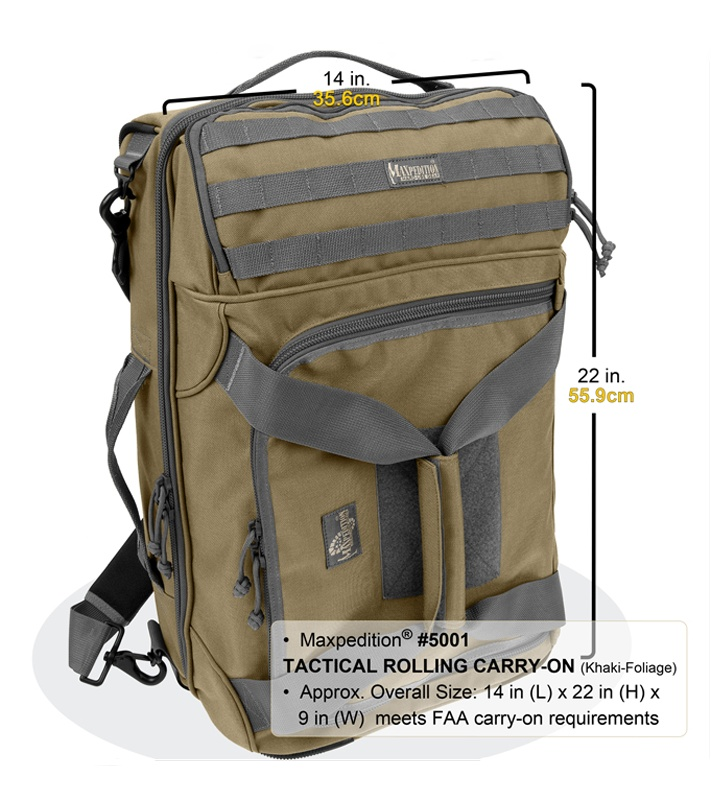 Maxpedition Tactical Rolling Carry-On Luggage Bag 5001B - Blade HQ