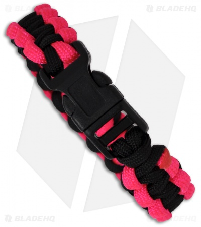 "Knot Boys 5/8"" Single Paracord Survival Bracelet (Pink/Black)"