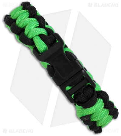 "Knot Boys 3/4"" Single Paracord Survival Bracelet (Green/Black)"