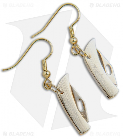 Rough Rider Miniature Folding Knife Earrings - Gold