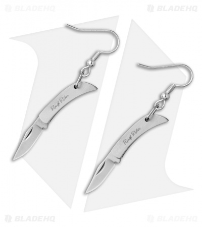 Rough Rider Miniature Folding Knife Earrings - Silver