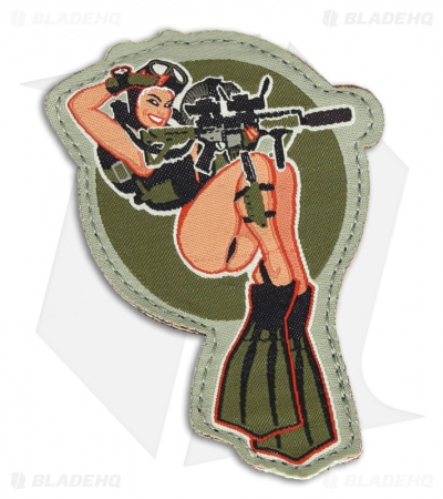 MSM Dive Girl Patch Hook Velcro Back (Full Color)