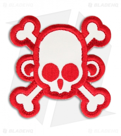 MSM Skull Monkey Cross Patch Hook Velcro Back (White/Red)