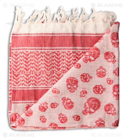 Grindworx Shemagh Pile of Skulls Head Scarf (Red/White)