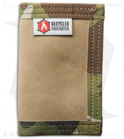 Recycled Firefighter Rookie U.S. Combat Boot Leather Wallet (Tan/Green Camo)