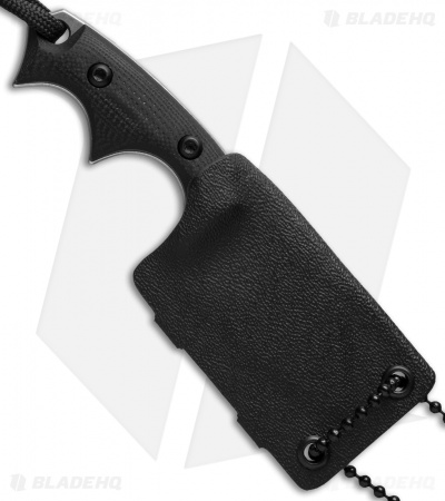 "Bastinelli BB Drago Cutter V2 Fixed Blade Neck Knife Black G-10 (2"" Stonewash)"