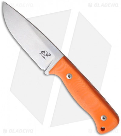 "Knife Research Rasul Fixed Blade Knife w/ Orange G10 (4.14"" Stonewash Plain)"