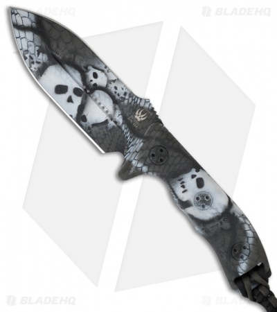 Microtech Crosshair Custom Jungle Skull Fixed Blade Knife - Hand Painted (Plain)