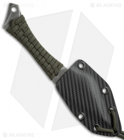 "Heretic Knives Chimera Fixed Blade Knife Green Paracord (3.5"" Acid Wash)"