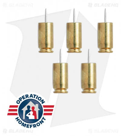 Hollow-Point Gear Brass Bullet .40 Caliber Push Pins (Set of 5)