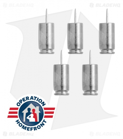 Hollow-Point Gear Silver Bullet .40 Caliber Push Pins (Set of 5)