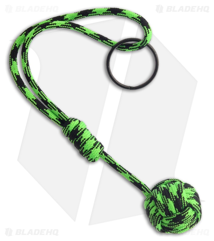 Knot Boys Monkey Fist W Zombie Green Paracord Tied Lanyard Keychain