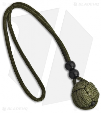"Monkeyz Paw Paracord Two Beads Lanyard Olive Drab (Small 3/4"" Ball)"