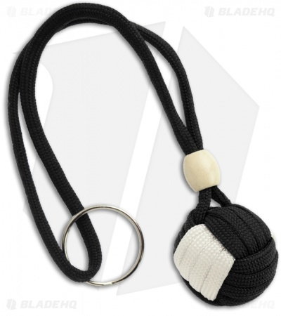 "Monkeyz Paw Black & White Paracord Lanyard (Small 3/4"" Ball)"