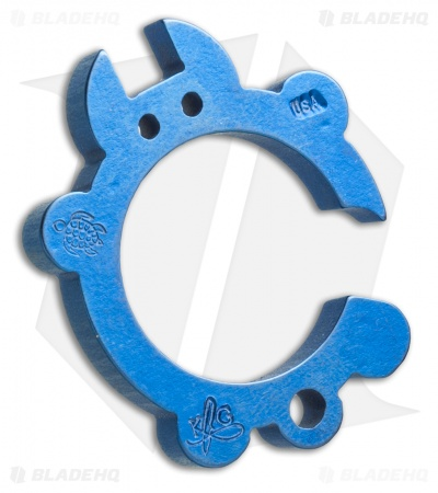 KnifeGuys Tipsy Turtle Titanium Keychain Bottle Opener - Blue Anodized