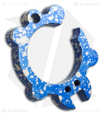 KnifeGuys Tipsy Turtle Titanium Keychain Bottle Opener - Blue Splatter Anodized