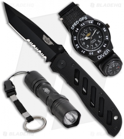 UZI Special Forces Flashlight Watch + Folding Knife Set