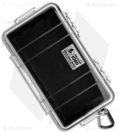 Pelican 1060 Micro Case Water Resistant Storage w/ Carabiner (Clear)
