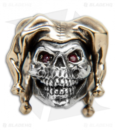 GD Skulls Court Jester Skull Bead w/ Bejeweled Eyes - Bronze/Silver