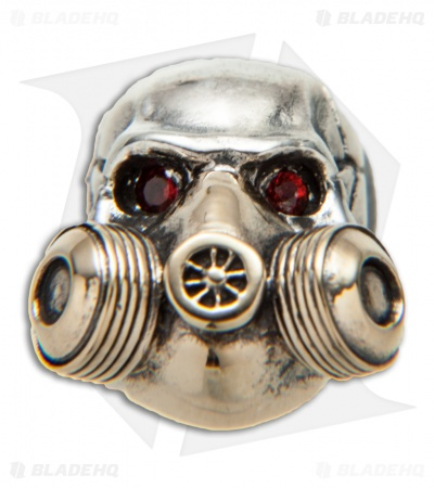 GD Skulls Gas Mask Skull Bead w/ Bejeweled Eyes - Bronze/Silver