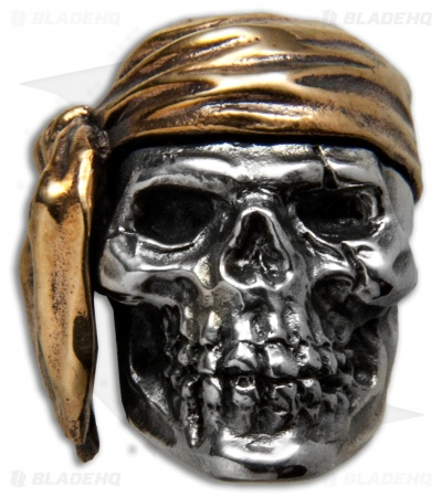 GD Skulls Pirate Skull Bead - Bronze/Silver