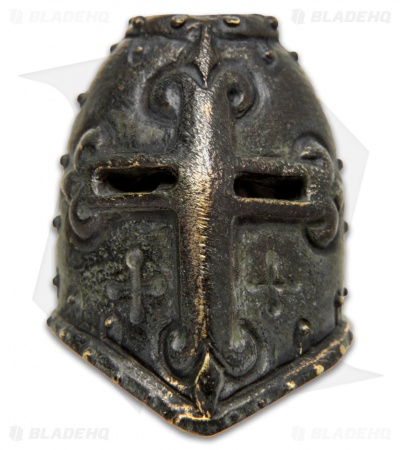 Lion ARMory Crusader Helmet Bead Brass Black Patina