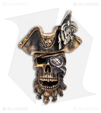 RUS Beads Shop Pirate Captain w/ Removable Hat Lanyard Bead - Bronze/Siliver