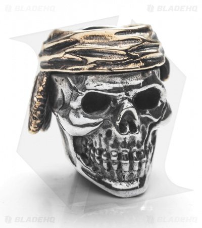 GD Skulls Indian Skull Bead - Bronze/Silver
