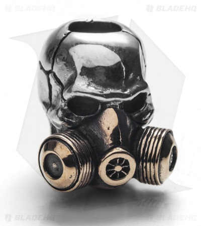 GD Skulls Gas Mask Skull Bead - Bronze/Silver